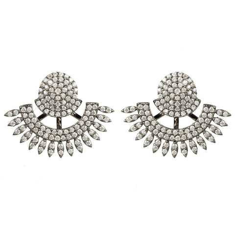 Latelita London Tribal Ear Jacket & Stud Earring Oxidised