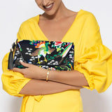 Desti Saint Chinoiserie Suede Envelope Clutch Black