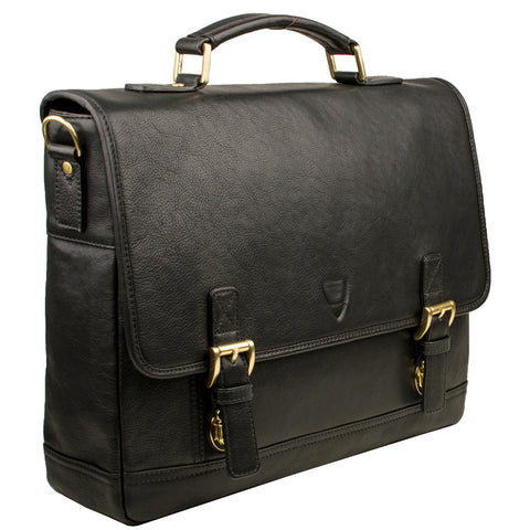 "Hidesign Hunter 15"" Laptop Compatible Leather Briefcase Black"