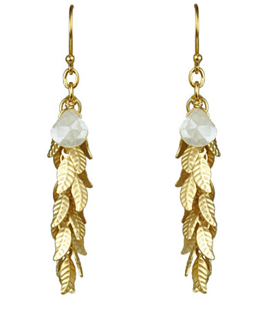 Gena Myint White Silverite And Leaf Cascade Earrings