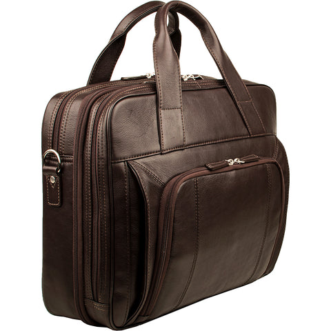 "Hidesign Aldous Ziptop 15"" Laptop Compatible Leather Work Bag Brown"