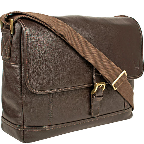 Hidesign Hunter Leather Messenger Bag Brown