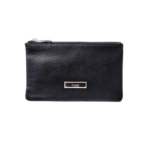 Personalised Leather wALLET Pouch Black