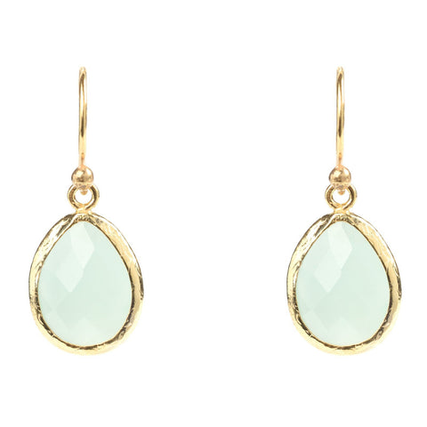 Latelita London Gold Petite Drop Earring Aqua Blue Chalcedony