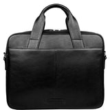 "Hidesign Aldous Ziptop 15"" Laptop Compatible Leather Work Bag Black"