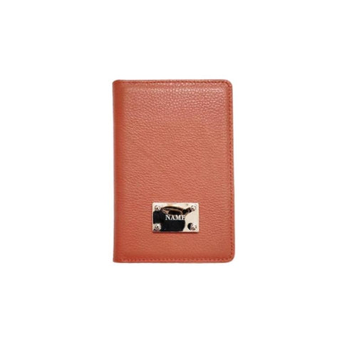 Engraved Personalised Leather Passport Wallet Cocoa Brown