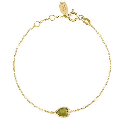 Latelita London Pisa Mini Teardrop Bracelet Gold Peridot Green
