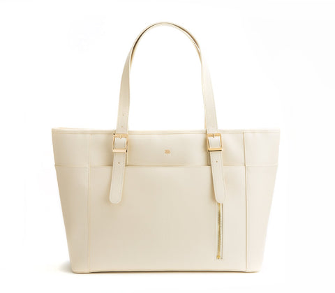 Gunas New York Vegan Leather Miley Tote Shoulder Bag Cream