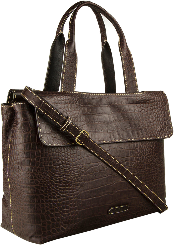 e219ab22a977 Hidesign Women's Leather Laptop Briefcase Work Bag Brown