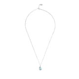 LATELITA LONDON Pisa Mini Teardrop Necklace Silver Blue Topaz