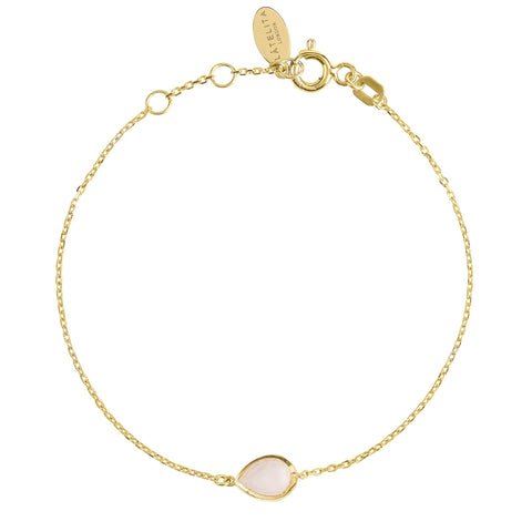 Latelita London Pisa Mini Teardrop Bracelet Gold Rose Quartz