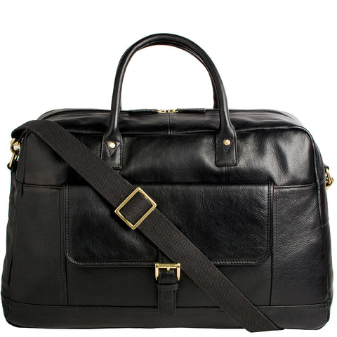 Hidesign Hunter Cabin Sized Duffel in Classic Leather Black