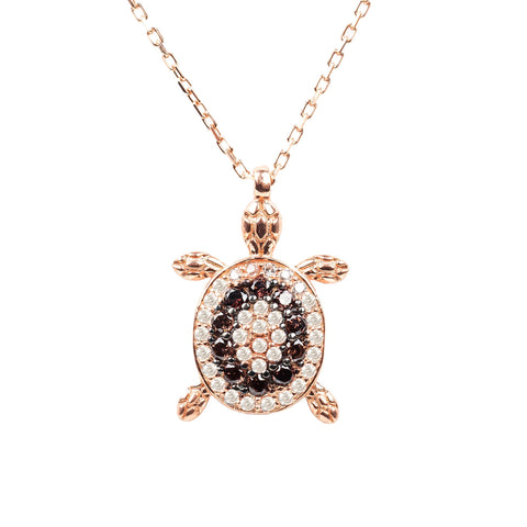 Latelita London Chocolate Turtle Pendant Necklace Rosegold