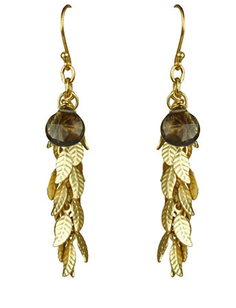 Gena Myint Smoky Topaz And Leaf Cascade Earrings