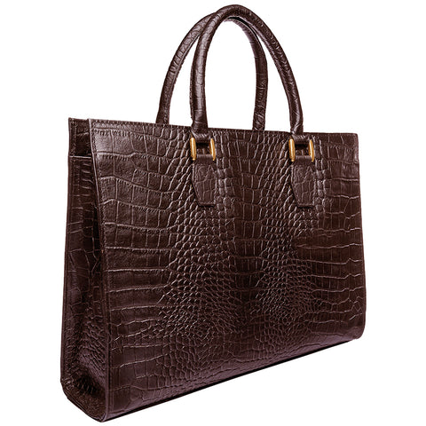 Hidesign Kester Leather Croc Embossed Briefcase Chocolate Brown