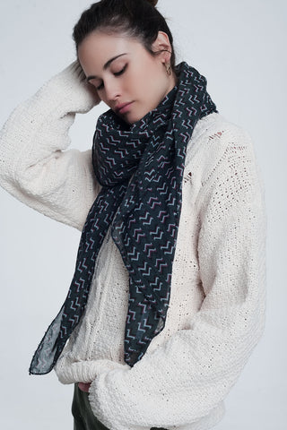 Q2 Grey Colored Scarf With Print