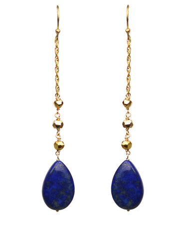 Gena Myint Lapis Lazuli Linear Drop Earrings