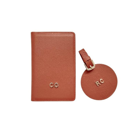 3D Monogram Personalised Leather Passport Wallet & Luggage Tag Set Cocoa Brown