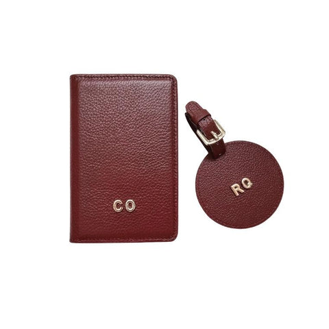 3D Monogram Personalised Leather Passport Wallet & Luggage Tag Set Burgundy Red