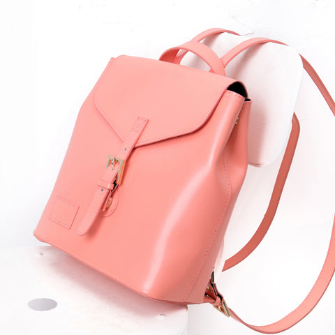Paperthinks Recycled Leather Envelope Backpack Small Pesca Pink