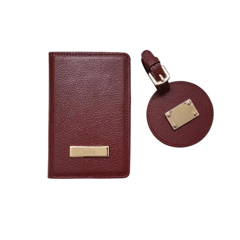 Engraved Personalised Leather Passport Wallet & Luggage Tag Set Burgundy Red