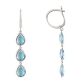 LATELITA LONDON Sorrento Triple Drop Earring Silver Blue Topaz
