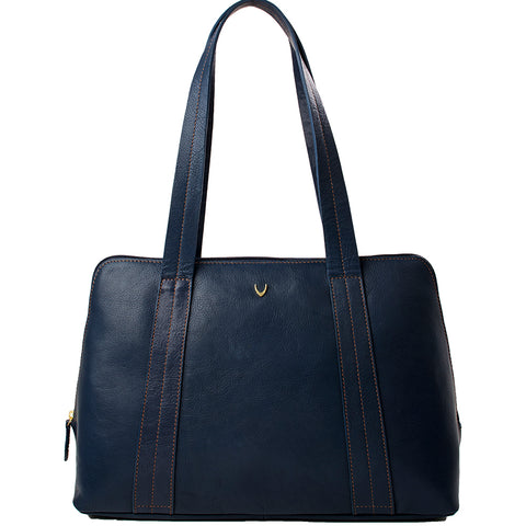 Hidesign Cerys Leather Multi-Compartment Shoulder Bag Blue