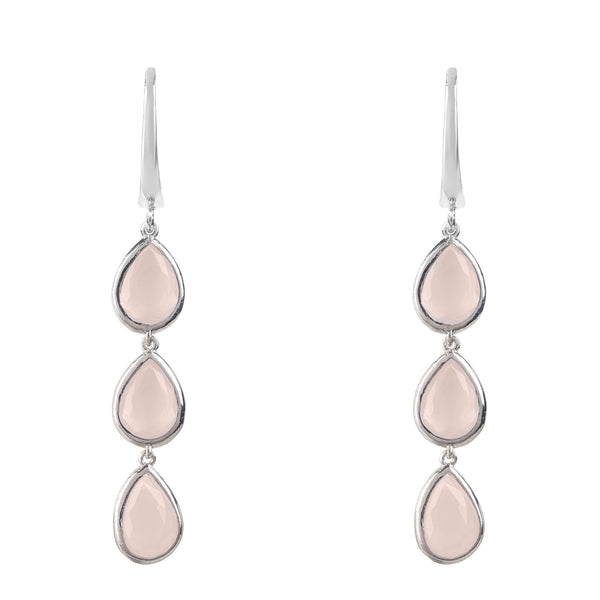 Latelita London Sorrento Triple Drop Earrings Silver Rose Quartz