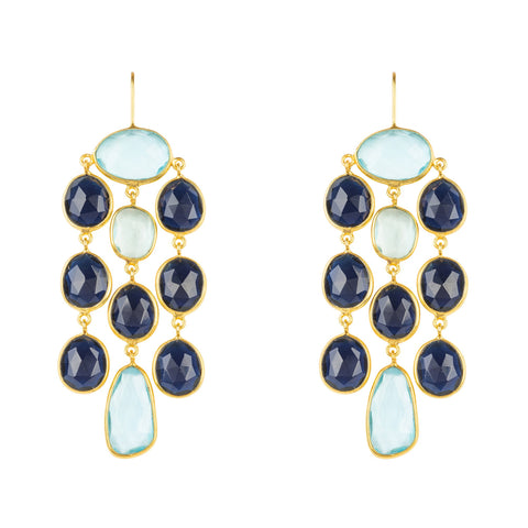 Latelita London Splash Gemstone Earrings Gold Sapphire Blue Hydro