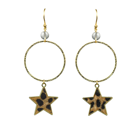 Gena Myint Gold Leopard Print Star Earrings