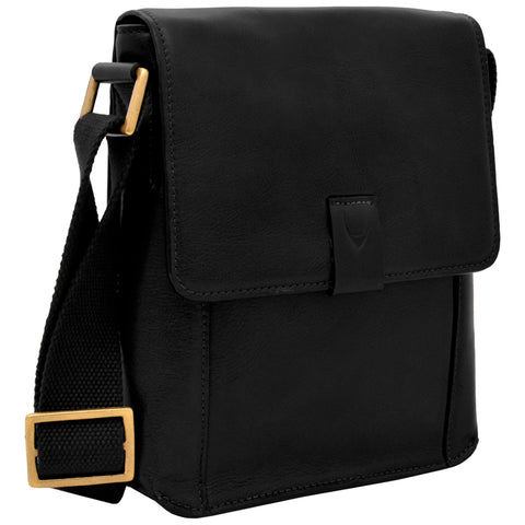 Hidesign Aiden Small Leather Messenger Cross Body Bag Black