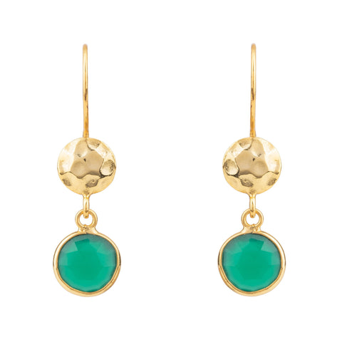 Latelita London Circle & Hammer Drop Earrings Gold Green Onyx