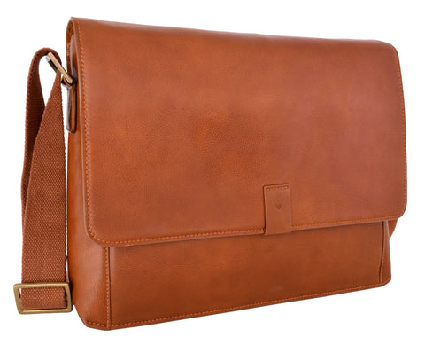 Hidesign Aiden Leather Business Laptop Messenger Cross Body Bag Tan