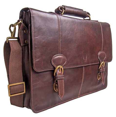 Hidesign Parker Leather Large Briefcase Brown