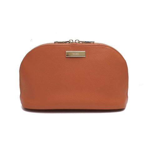 Engraved Personalised Leather Cosmetic Bag Cocoa Brown