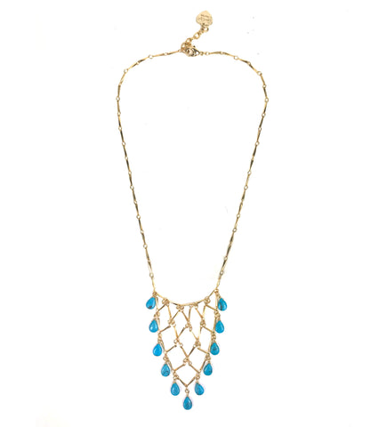 Gena Myint Sleeping Beauty Turquoise Gold Statement Necklace