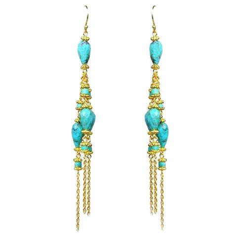 GENA MYINT Linear Chandelier Earrings Turquoise Gold Blue