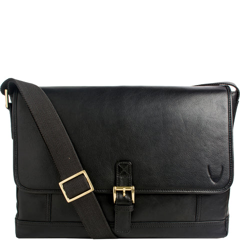 Hidesign Hunter Leather Messenger Bag Black