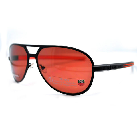 Tag Heuer Senna Racing Black & Orange Driving Polarized Sunglasses Metal Frame TH0986 204