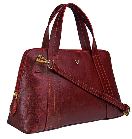 Hidesign Cerys Leather Satchel Bag Red