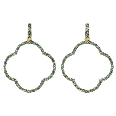 Latelita London Open Clover Large Drop Earrings Green Gold