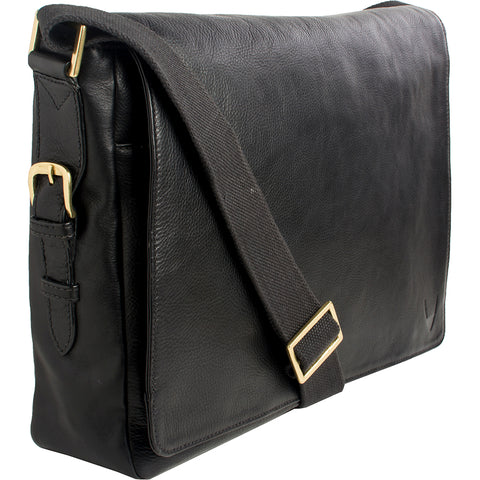 "Hidesign William Horizontal 15"" Laptop Compatible Leather Messenger Bag Black"