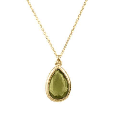 Latelita London Pisa Mini Teardrop Necklace Gold Peridot Green