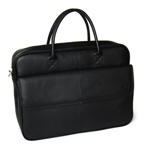 MJ Room Leather Laptop Briefcase Bag Black