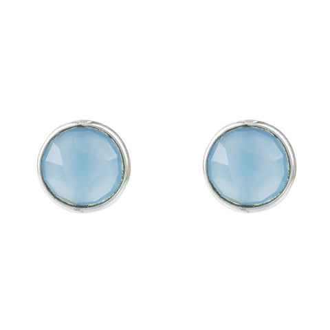 LATELITA LONDON Medium Circle Stud Silver Blue Chalcedony Earrings