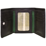 Hidesign Dylan Compact Trifold Leather Wallet with ID Window Black