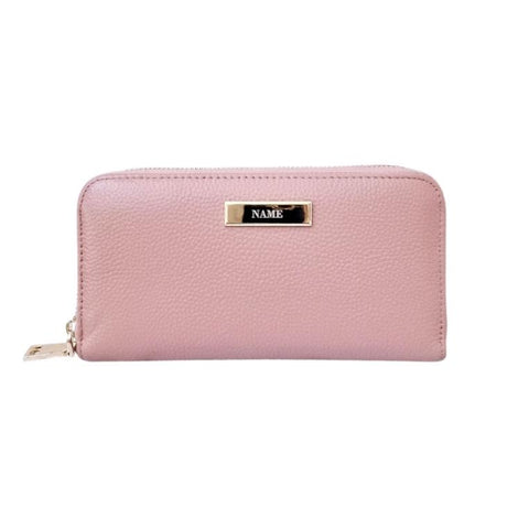 Personalised Leather Long Zip  Wallet Blush Pink