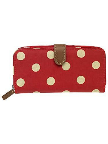 Cath Kidston Women's Global Wallet Button Spot ID slot Fold over closure Berry 515337