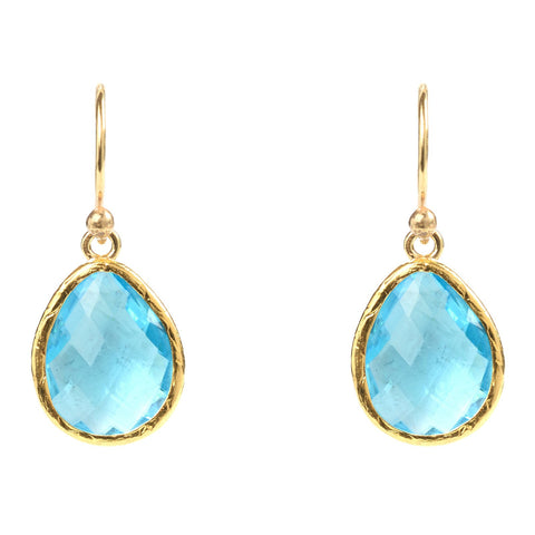LATELITA LONDON Gold Petite Drop Earring Blue Topaz Earrings