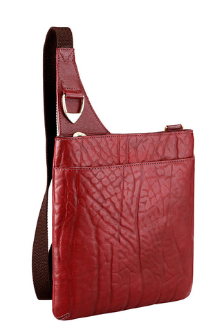Hidesign Yangtze Leather Crossbody Bag Red